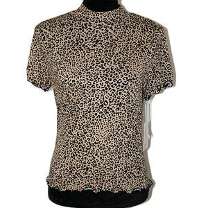Candie's Animal Print Mock Neck Top Size L NWT